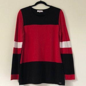 Calvin Klein Red/Black/White Color Block Sweater